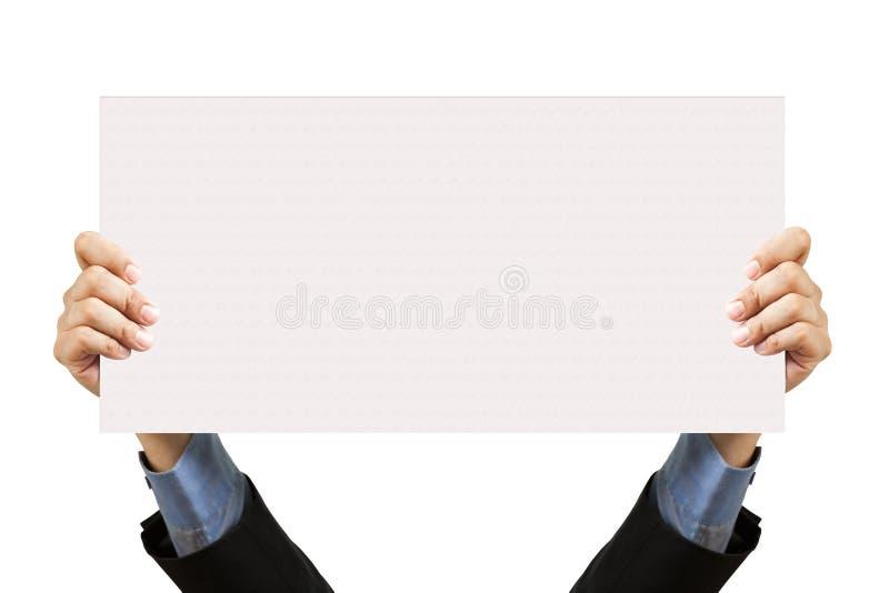 De holdings leeg teken en hand van de zakenman stock afbeeldingen