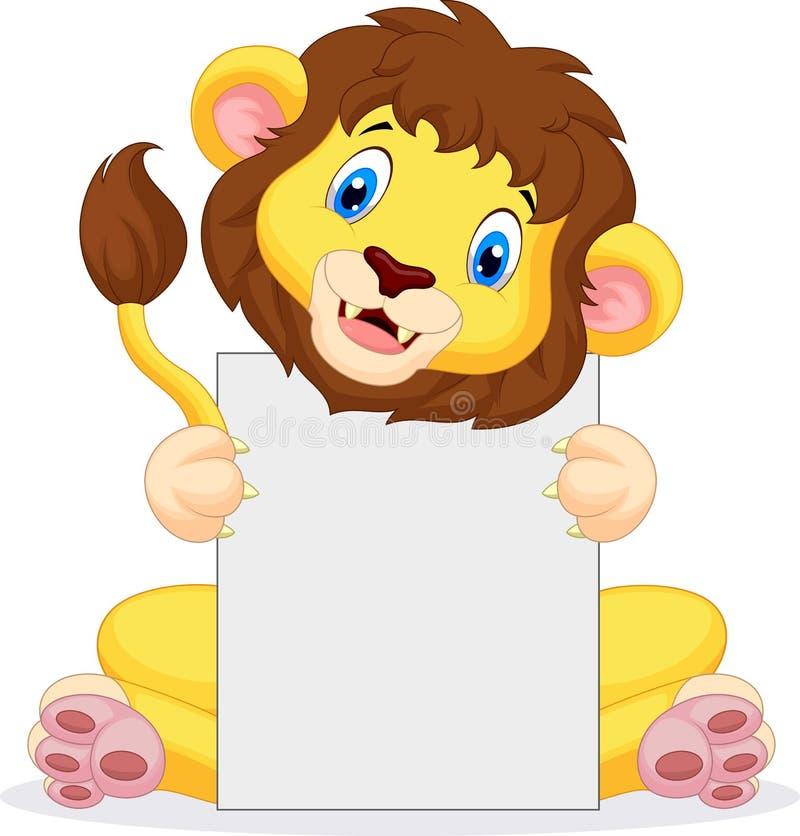De holdings leeg teken van het leeuwbeeldverhaal royalty-vrije illustratie