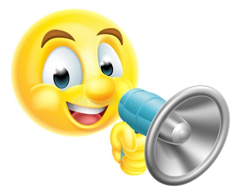 De Holdings Megatelefoon van Emoticonemoji vector illustratie