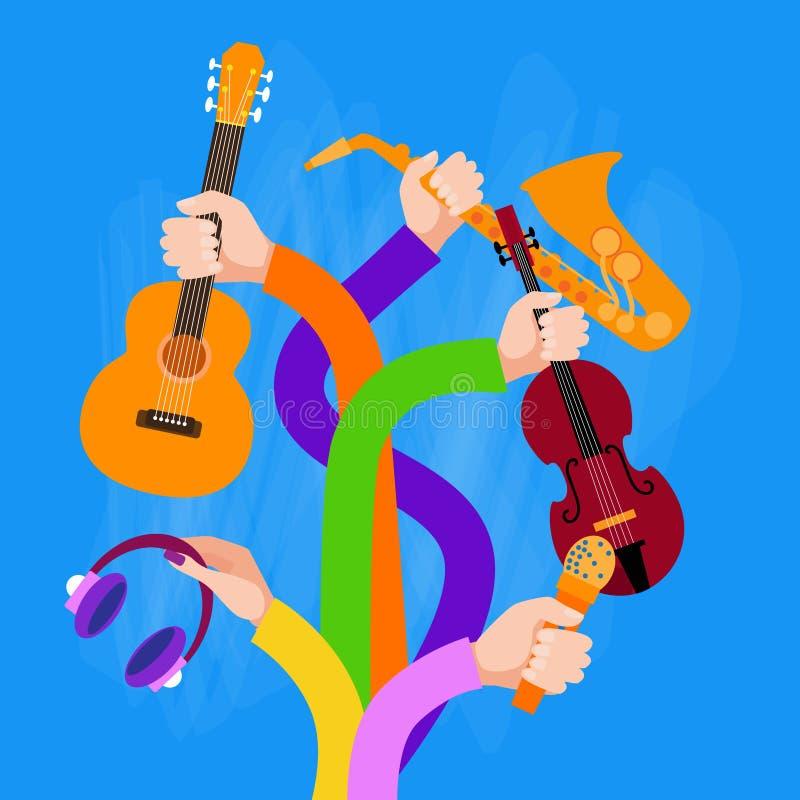 De Holdings Muzikale Instrumenten van groepshanden vector illustratie