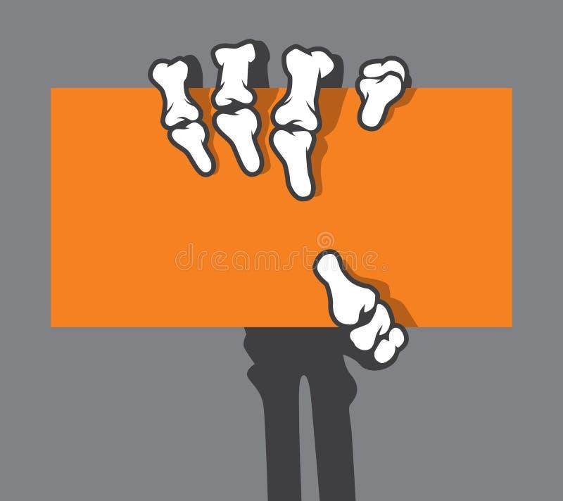 De holdingsadreskaartje van de skelethand, creditcard stock illustratie