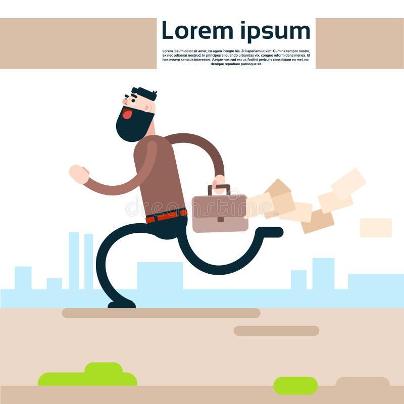 De Holdingsaktentas van de bedrijfsmensenlooppas het Verliezen Document Documenten stock illustratie