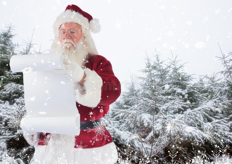 De holdingscontrolelijst van de Kerstman stock afbeelding