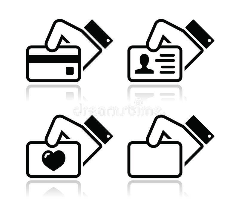 De holdingscreditcard van de hand, adreskaartjepictogrammen stock illustratie