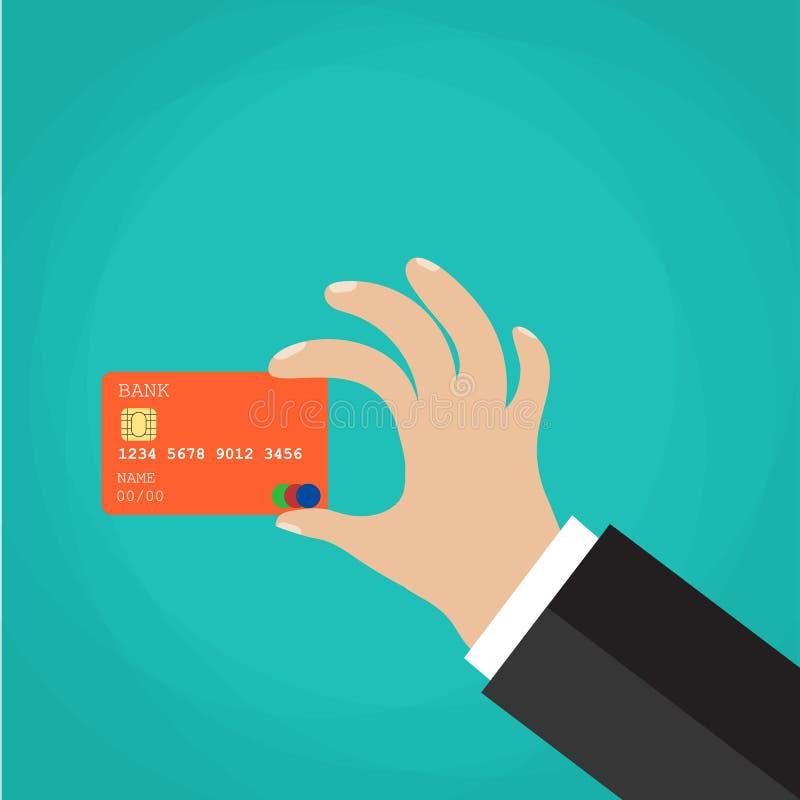 De holdingscreditcard van de zakenmanhand stock illustratie