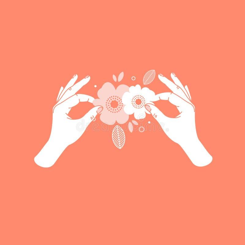 De holdingsdocument van de vrouwenhand bloemen Met de hand gemaakte cursussen Vector illustratie royalty-vrije illustratie