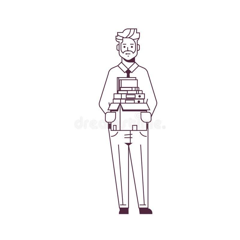 De holdingsdoos van de zakenmanbeambte met de baan van het van bedrijfs materiaaldingen nieuwe het karakter volledige lengte conc stock illustratie
