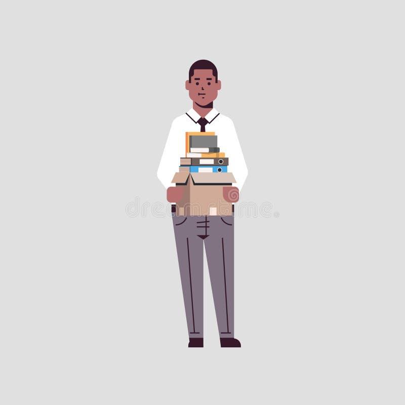 De holdingsdoos van de zakenmanbeambte met karakter de baan van het van bedrijfs materiaaldingen het nieuwe concepten Afrikaanse  vector illustratie