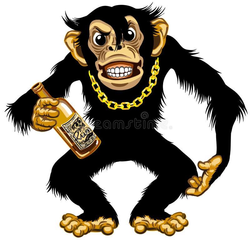 De holdingsfles van de beeldverhaalchimpansee rum vector illustratie
