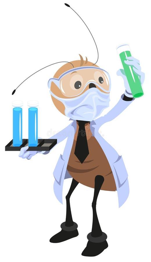 De holdingsfles van de mierenwetenschapper vector illustratie
