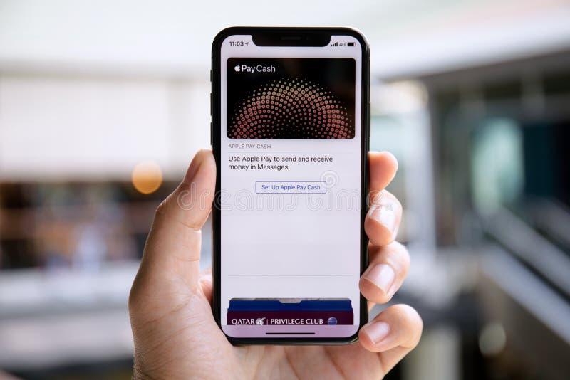 De holdingsiphone X van de mensenhand met Apple betaalt op het scherm stock afbeelding