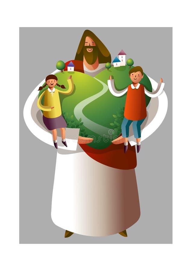 De holdingsjongen en meisje van Jesus-Christus stock illustratie