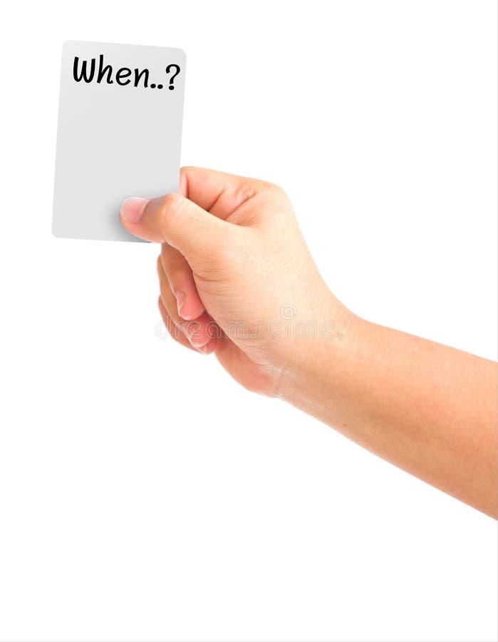 De holdingskaart van de hand met het woord wanneer vector illustratie