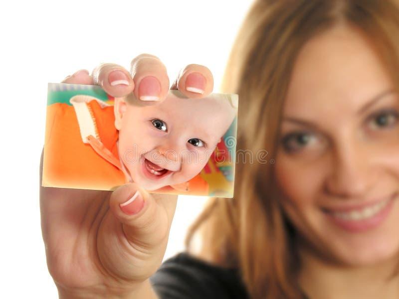 De holdingskaart van de moeder met babycollage stock foto