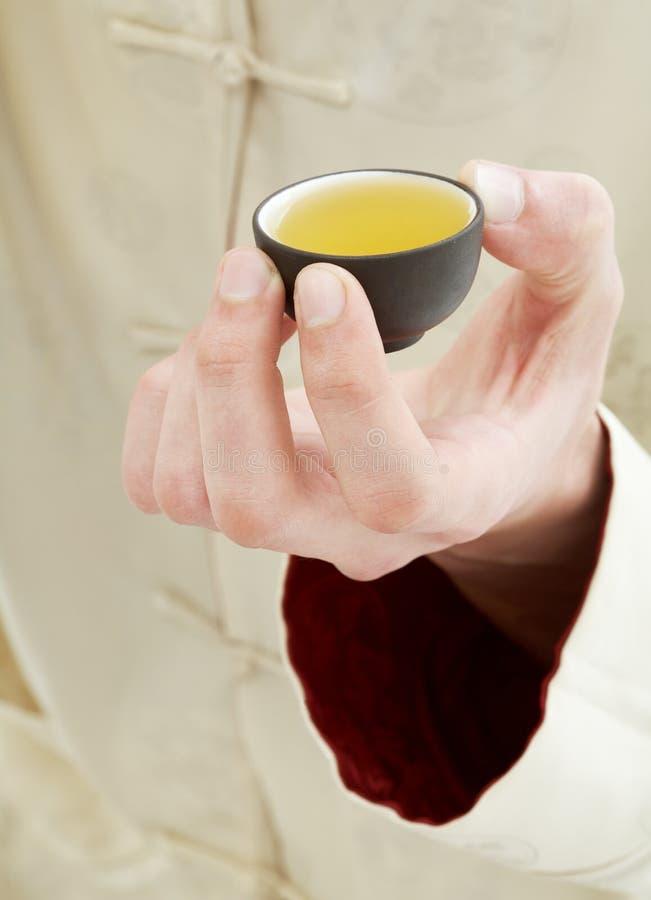 De holdingskop van de hand van groene thee royalty-vrije stock fotografie