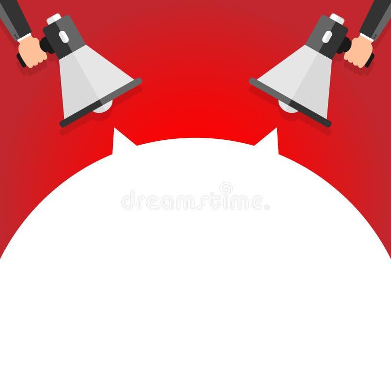 De holdingsmegafoon van de mensenhand met lege toespraakbel luidspreker Banner voor zaken, marketing en reclame Vector vector illustratie