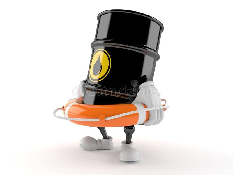 De holdingsreddingsboei van het olievatkarakter vector illustratie