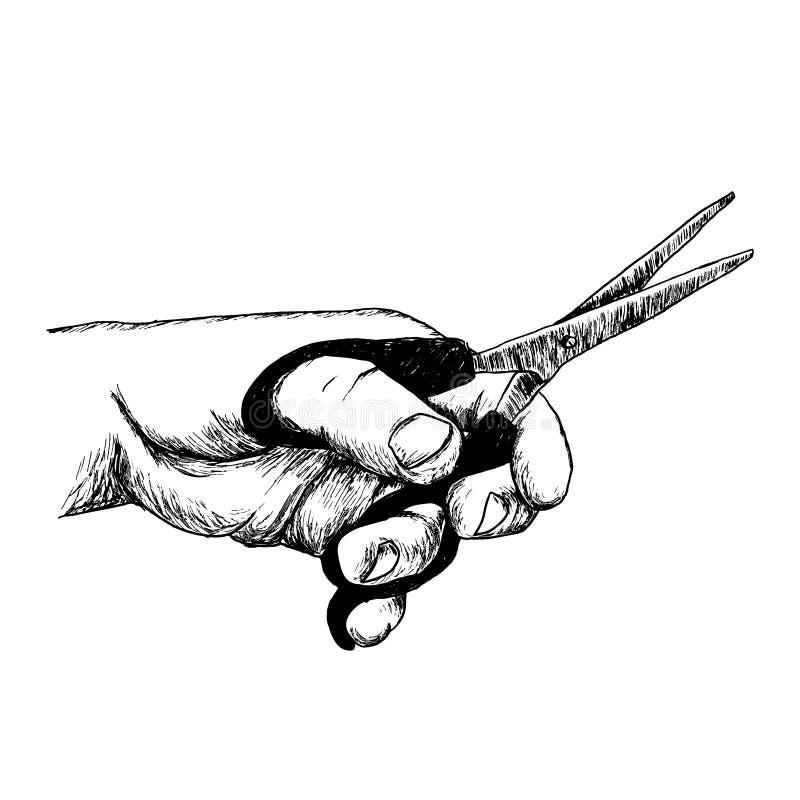De holdingsschaar van de hand stock afbeelding