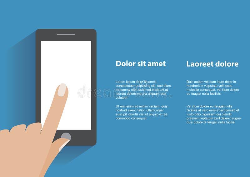 De holdingssmartphone van de hand met het lege scherm vector illustratie