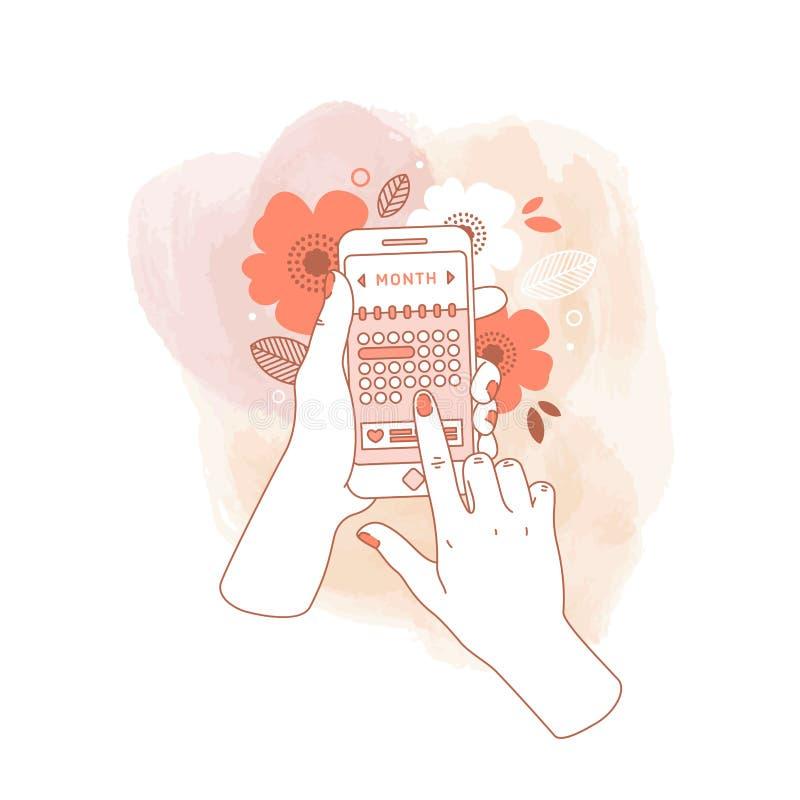 De holdingssmartphone van de vrouwenhand met de kalender van de menstruatiecyclus op waterverfachtergrond Bloementelefoon in hand royalty-vrije illustratie