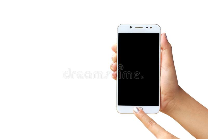 De holdingsspatie van de vrouwenhand en touch screensmartphone op witte achtergrond wordt geïsoleerd die royalty-vrije stock foto