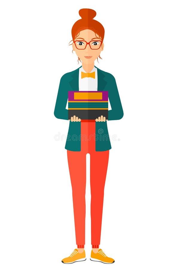 De holdingsstapel van de vrouw van boeken vector illustratie