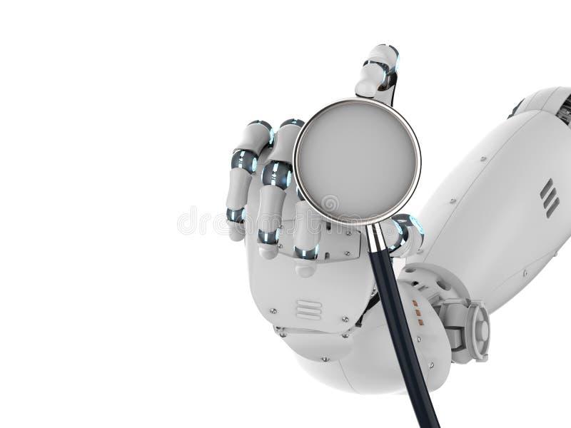 De holdingsstethoscoop van de Cyborghand royalty-vrije illustratie
