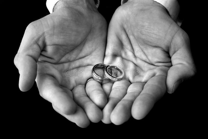 De holdingstrouwringen van de bruidegom stock foto