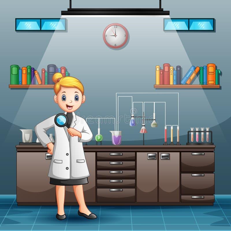 De holdingsvergrootglas van de beeldverhaal vrouwelijk wetenschapper vector illustratie
