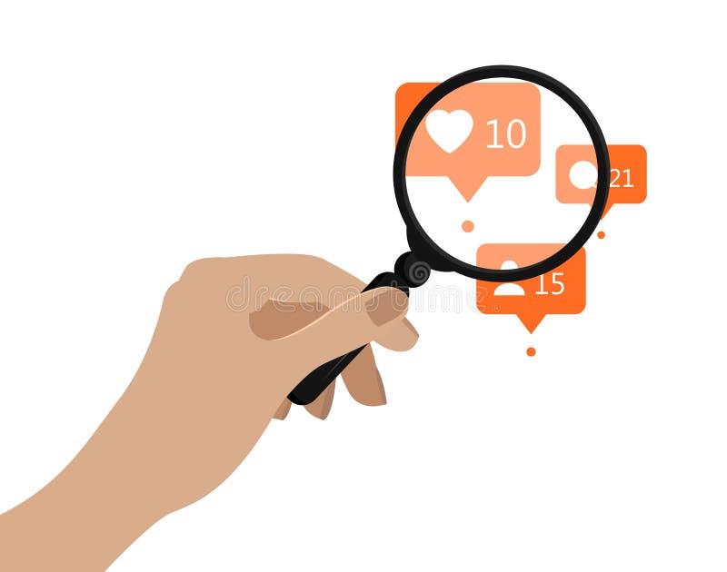 De holdingsvergrootglas van de hand Vector illustratie Sociaal media analyticsconcept Oranje berichtpictogrammen onder vector illustratie