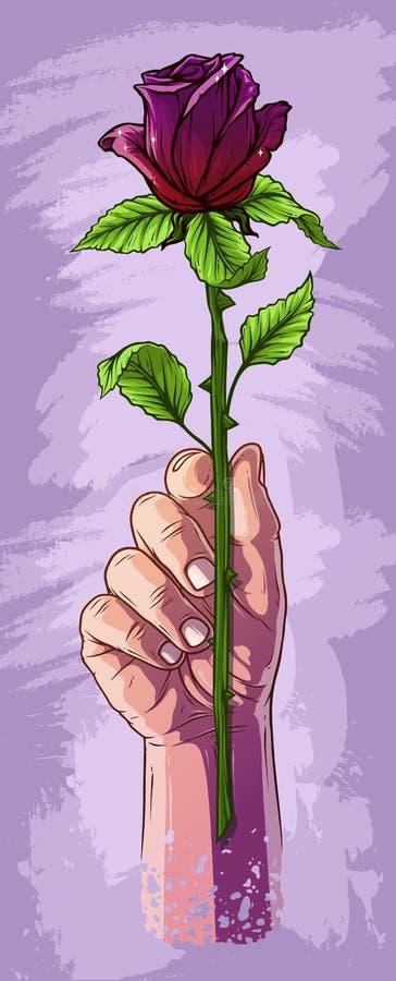 De holdingsviooltje van de beeldverhaal nam het witte menselijke hand toe stock illustratie