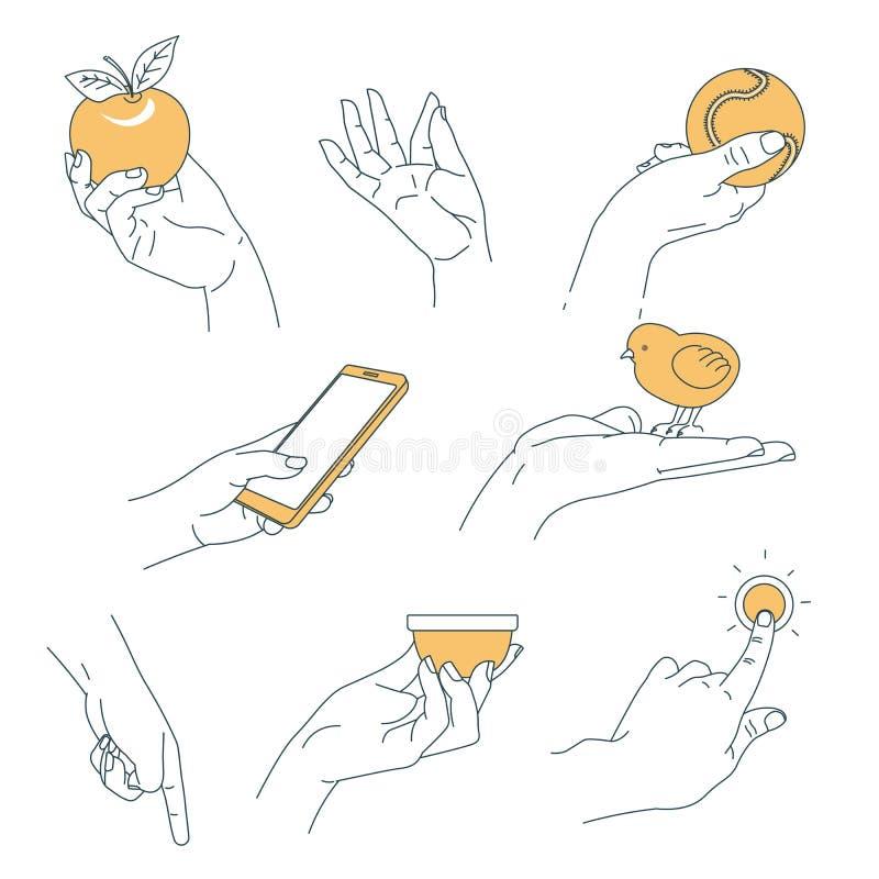 De holdingsvoorwerpen geïsoleerd lichaamsdeel van de hand menselijk palm royalty-vrije illustratie