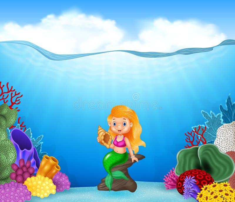 De holdingszeeschelp van de beeldverhaalmeermin met mooie onderwaterwereld vector illustratie