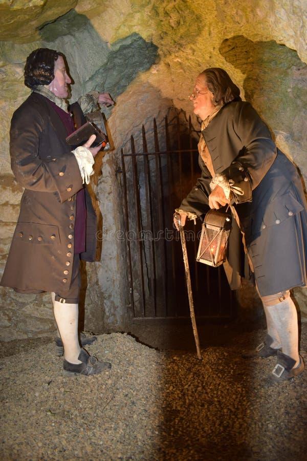 14/01/2018 de Holen van de Helbrand, het Westen Wycombe Sir Francis Dashwood en Benjamin Franklin royalty-vrije stock afbeelding