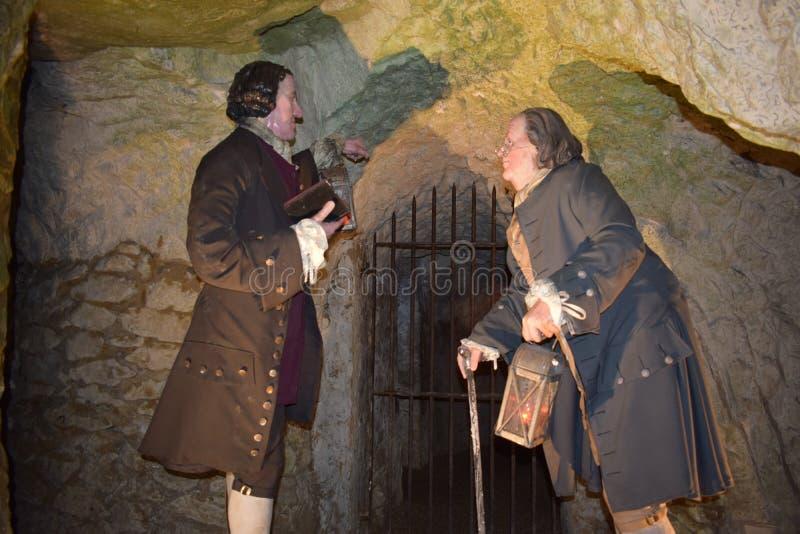 14/01/2018 de Holen van de Helbrand, het Westen Wycombe Sir Francis Dashwood en Benjamin Franklin stock afbeelding