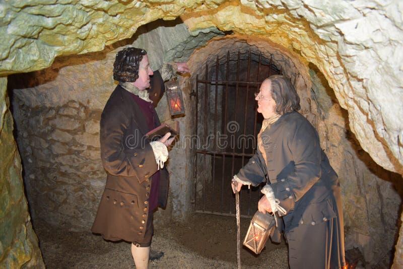 14/01/2018 de Holen van de Helbrand, het Westen Wycombe Sir Francis Dashwood en Benjamin Franklin stock foto's