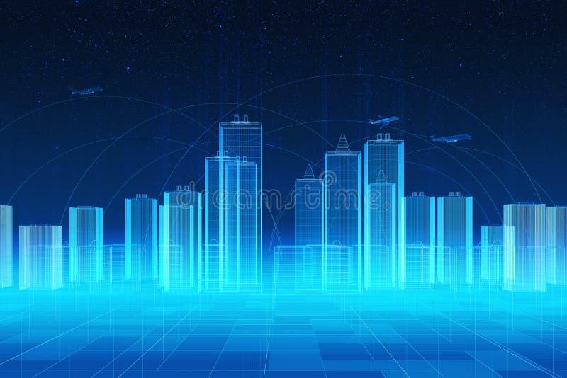 De holografische futuristische interface van stadshud vector illustratie