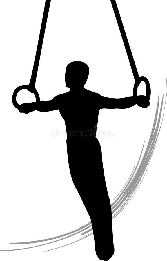 De homens da ginástica anéis ainda ilustração do vetor