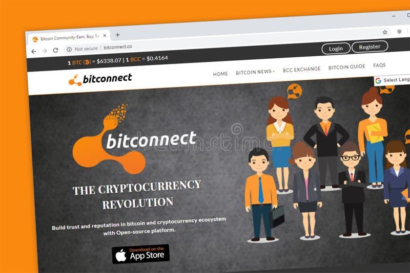 De homepage van de Bitconnectwebsite, een open bron allen in één bitcoin en crypto communautair platform royalty-vrije stock afbeelding