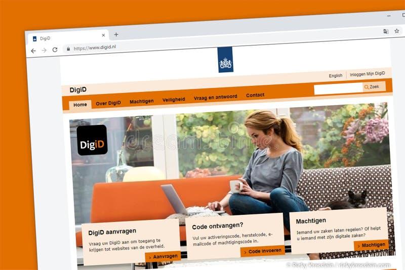 De homepage van de DigiDwebsite Digitale identificatie van de Nederlandse overheid Holland of stock afbeelding