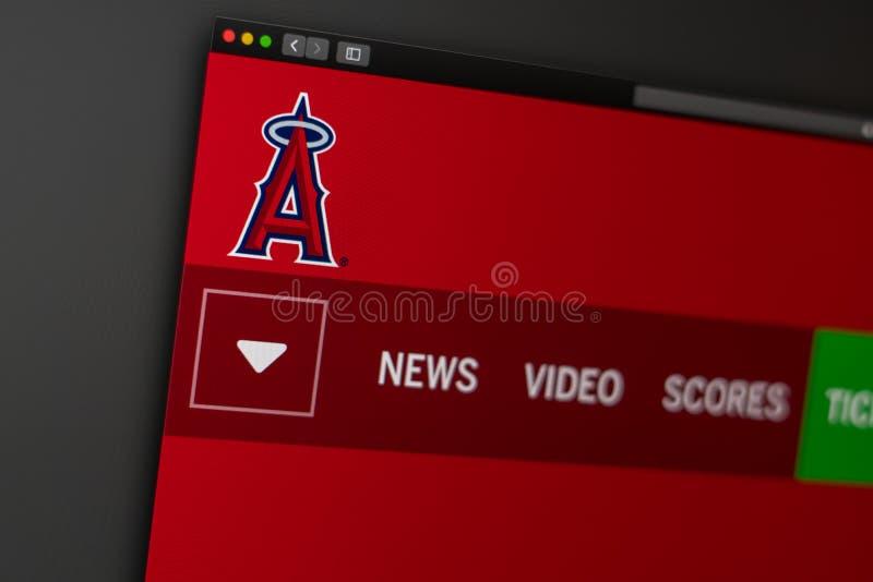 De homepage van de de Engelenwebsite van Los Angeles van het honkbalteam Sluit omhoog van teamembleem royalty-vrije stock foto