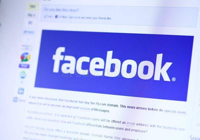 De Homepage van Facebook royalty-vrije stock afbeelding