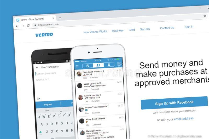 De homepage van de Venmowebsite Verzend geld naar vrienden en familie snel en gemakkelijk van app stock afbeelding