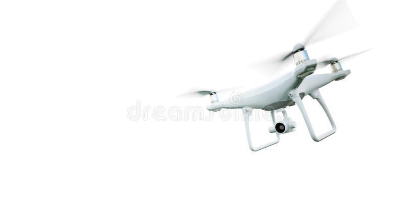 De Hommel die van de de Controlelucht van beeldmatte generic design modern remote met actiecamera vliegen Geïsoleerd op Leeg Wit