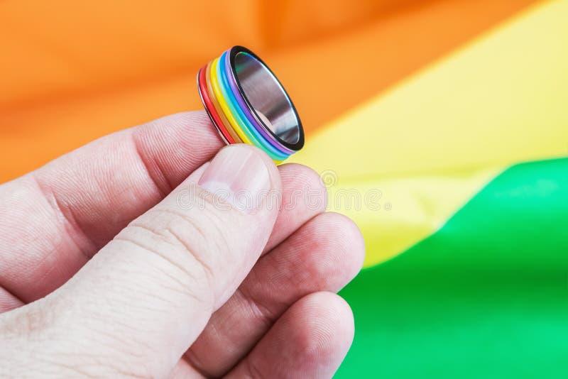 De homosexueel van de ringsregenboog in de palm stock afbeelding