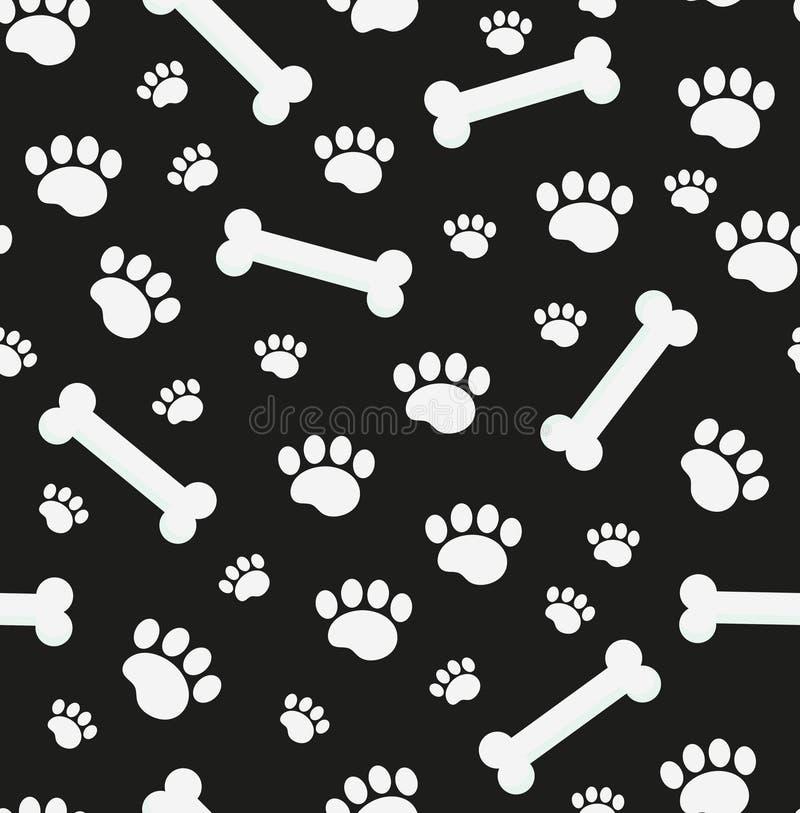 De hond beent naadloos patroon uit Been en sporen van de herhaalde textuur van puppypoten Eindeloze achtergrond van een hond Vect royalty-vrije illustratie