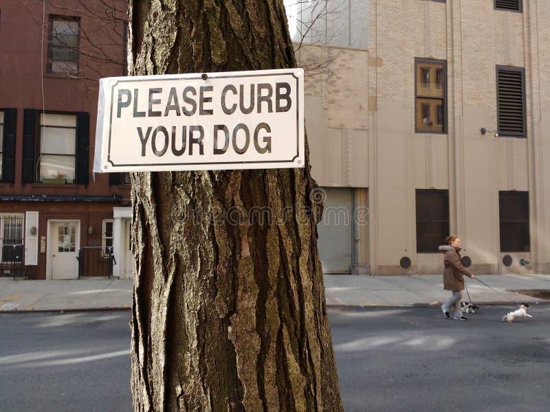De hond die, te houden gelieve Uw Hond, NYC, NY, de V.S. lopen in bedwang stock foto