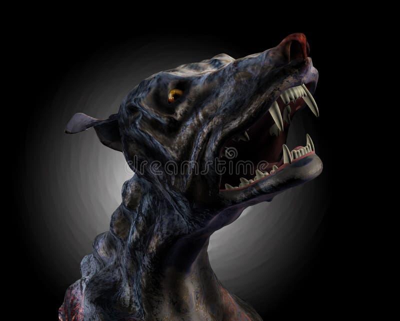 De Hond die van de hel - met het knippen van weg huilt vector illustratie