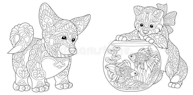 De hond en het katje van Zentanglecorgi stock illustratie