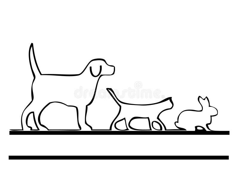 De hond en het konijn van de kat stock illustratie